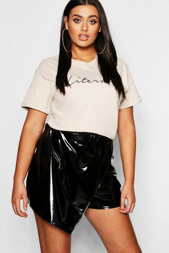 Womens Black Plus Faux Leather Skort