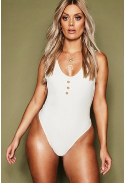 Womens Nude Plus Rib & Button Detail Plunge Swimsuit