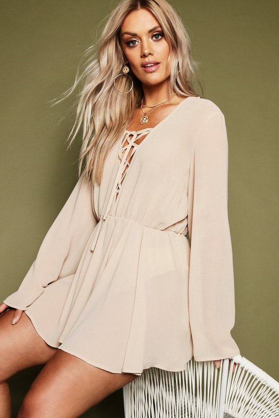 Womens Nude Plus Chiffon Lace Up Beach Dress
