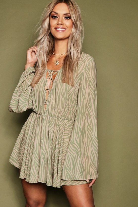 Womens Nude Plus Zebra Print Chiffon Lace Up Beach Dress