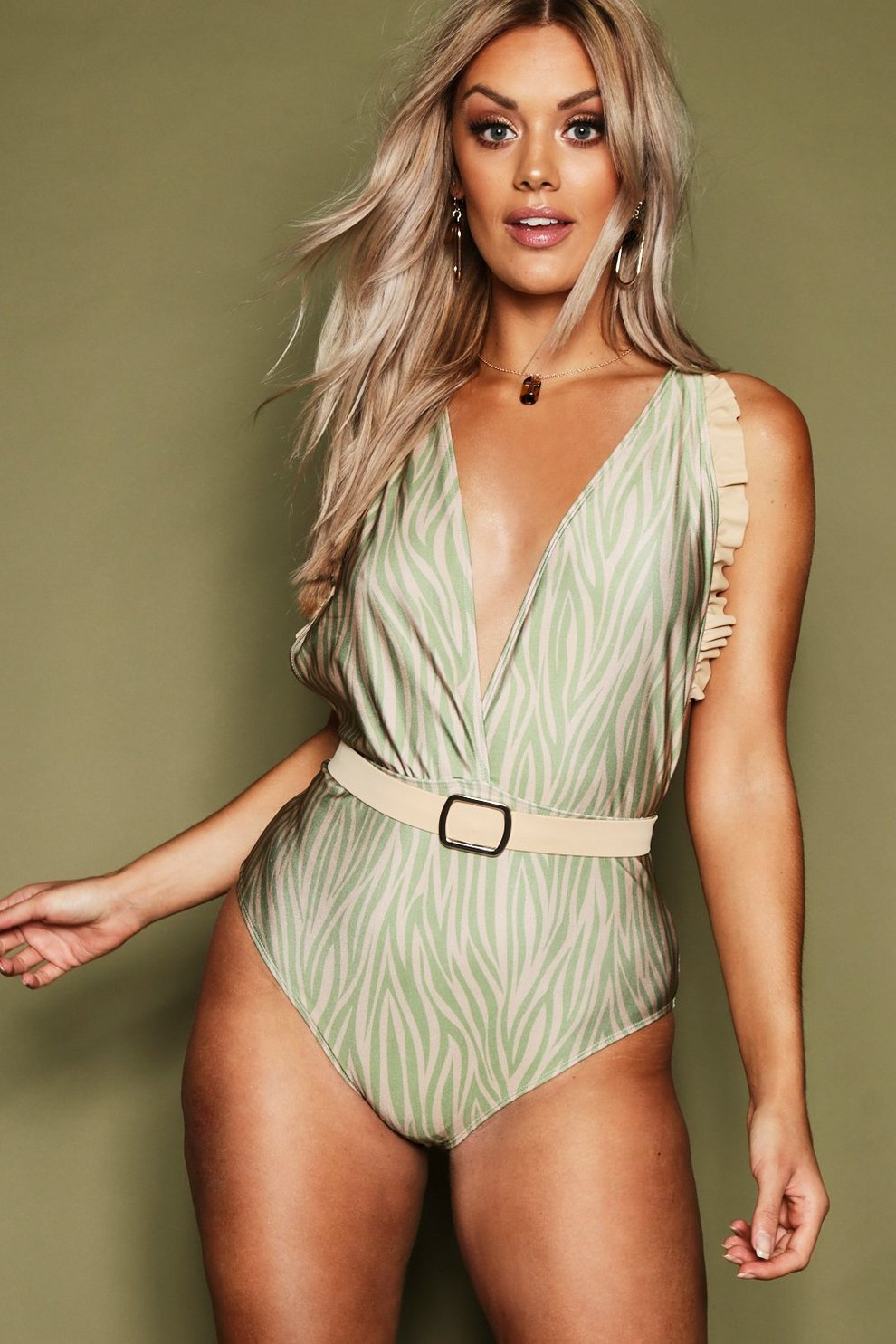 77a4d8cb5b0 Plus Tiger Print Belted Plunge Swimsuit