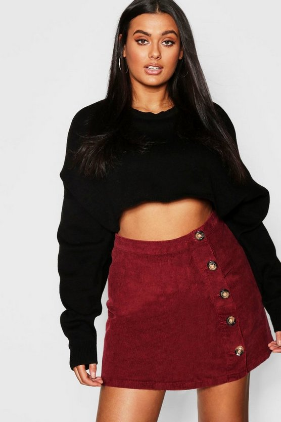 Berry Plus Cord Horn Button Skirt