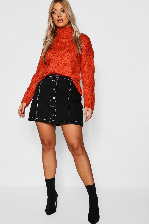 Plus Button Through Contrast Stitch Denim Skirt