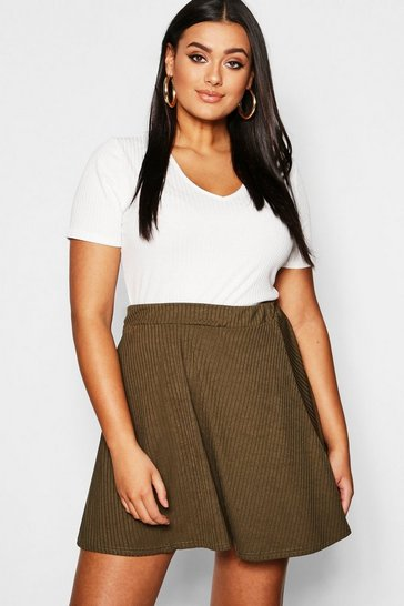 Womens Khaki Plus Rib Skater Skirt
