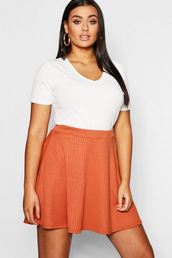 Womens Rust Plus Rib Skater Skirt