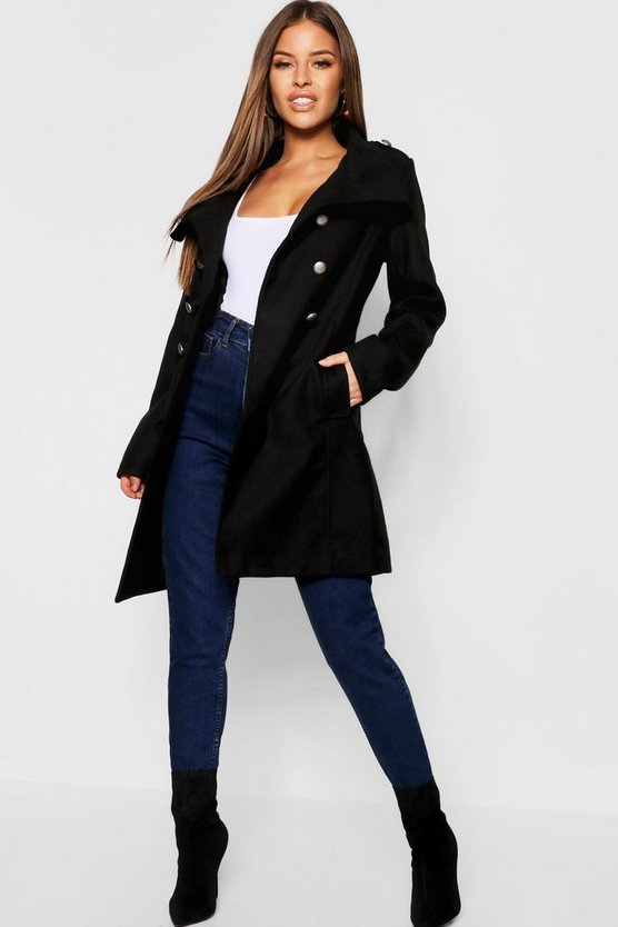 Womens Black Petite Military Wool Look Coat