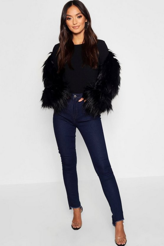 Petite High Rise Straight Leg Step Hem Jean