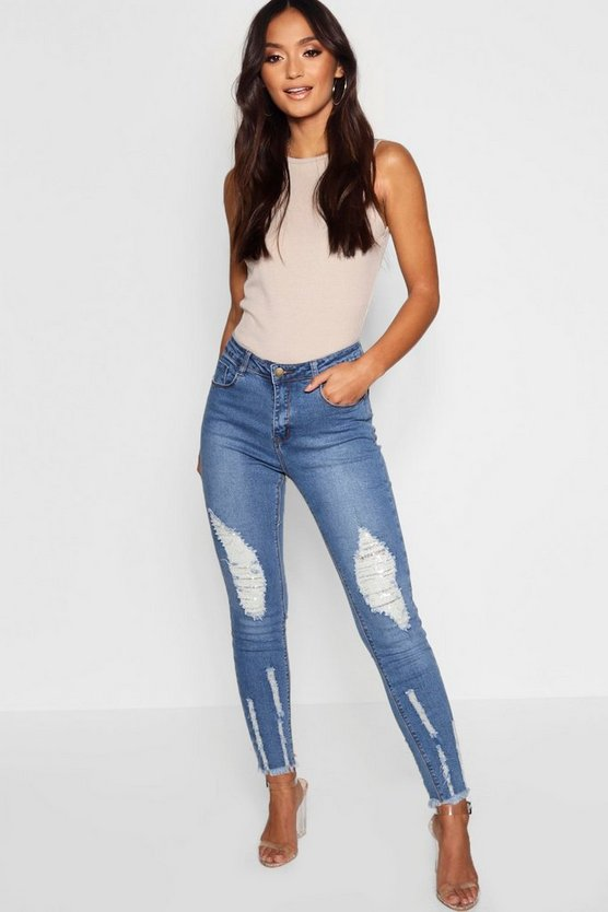 Womens Blue Petite Frayed Detail Skinny Jean