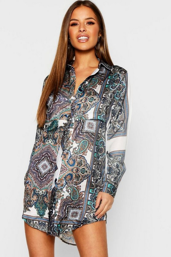 Womens Multi Petite Paisley Shirt Dress