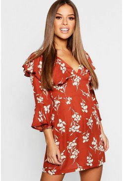 Womens Tan Petite Floral Ruffle Sleeve Tea Dress