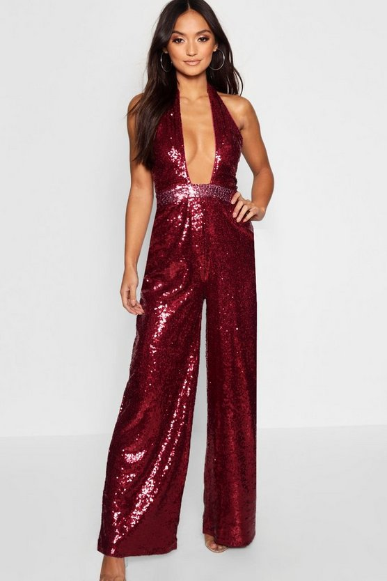 Womens Berry Petite Sequin Twist Wide Leg Trouser