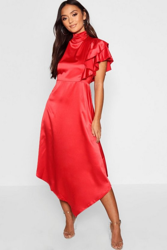 Petite Satin Asymmetric Midi Dress