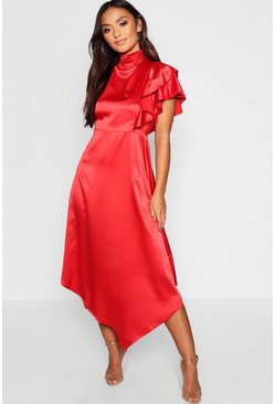 Womens Red Petite Satin Asymmetric Midi Dress