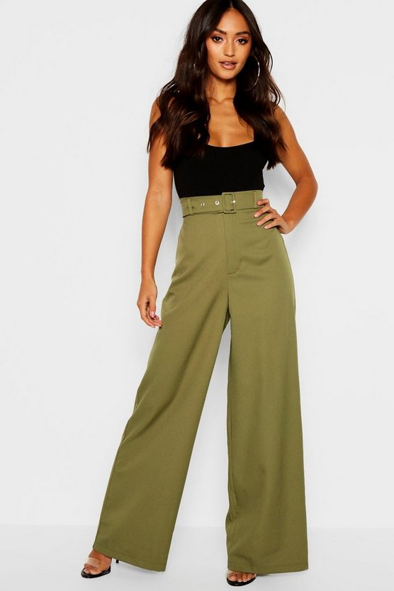 Womens Khaki Petite Self Belt Utility Trouser