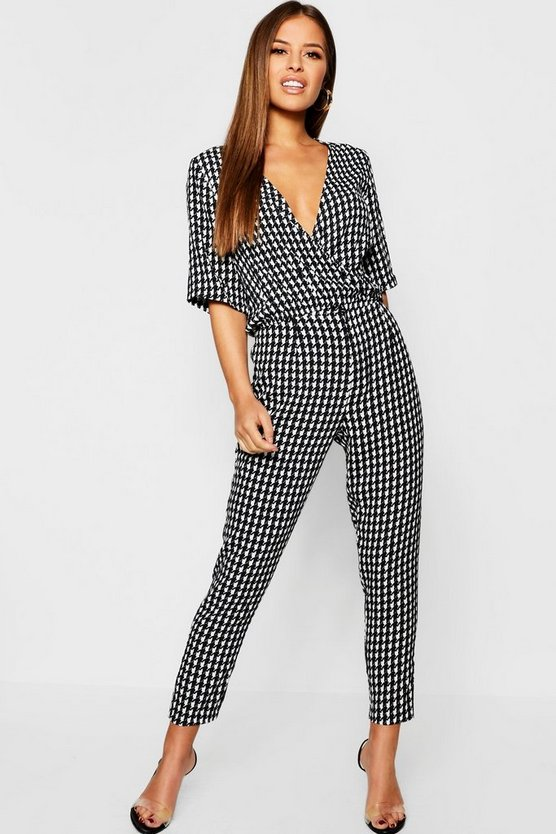 Black Petite Dogtooth Trouser