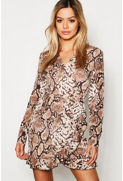 Womens Brown Petite Snake Print Ruffle & Wrap Skater Dress