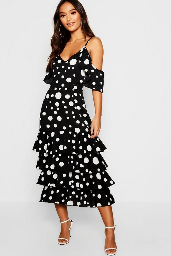 Petite Large Spot Ruffle Hem Midi Dress