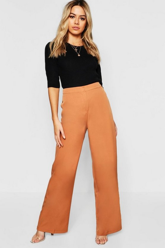 Womens Camel Petite Wide Leg Woven Pants