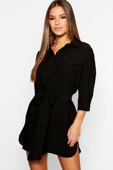 Womens Black Petite Utility Shirt Dress