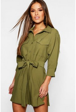 Womens Khaki Petite Utility Shirt Dress