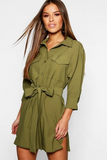Khaki Petite Utility Shirt Dress