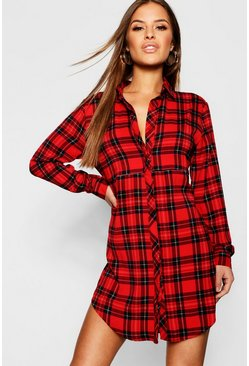 Womens Red Petite Checked Shirt Dress