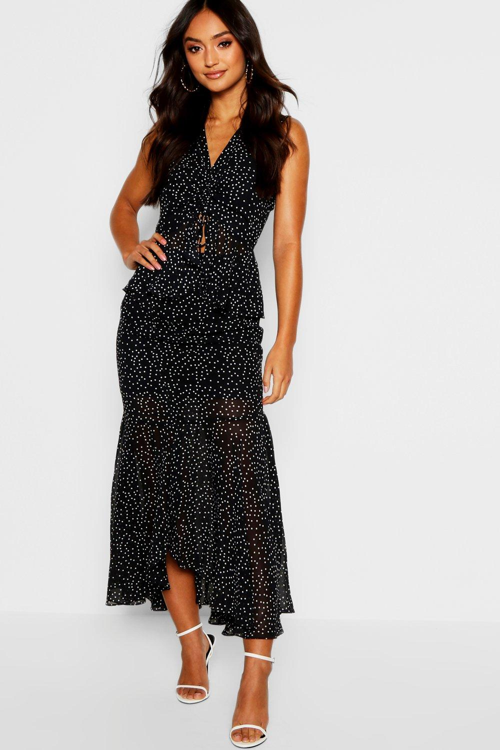 325a875e2bc7 Womens Black Petite Ruffle & Ruched Midi Dress. Hover to zoom
