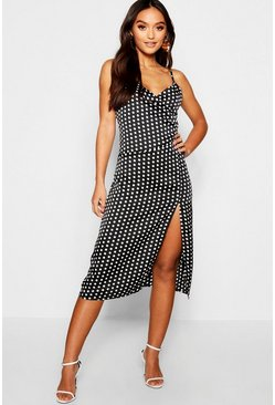 Womens Black Petite Polka Dot Midi Dress