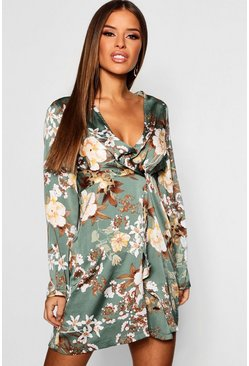 Womens Sage Petite Floral Plunge Satin Twist Mini Dress
