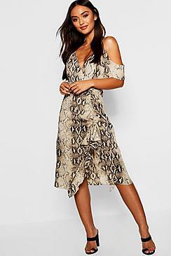 Petite Snake Print Cold Shoulder Ruffle Hem Midi Dress