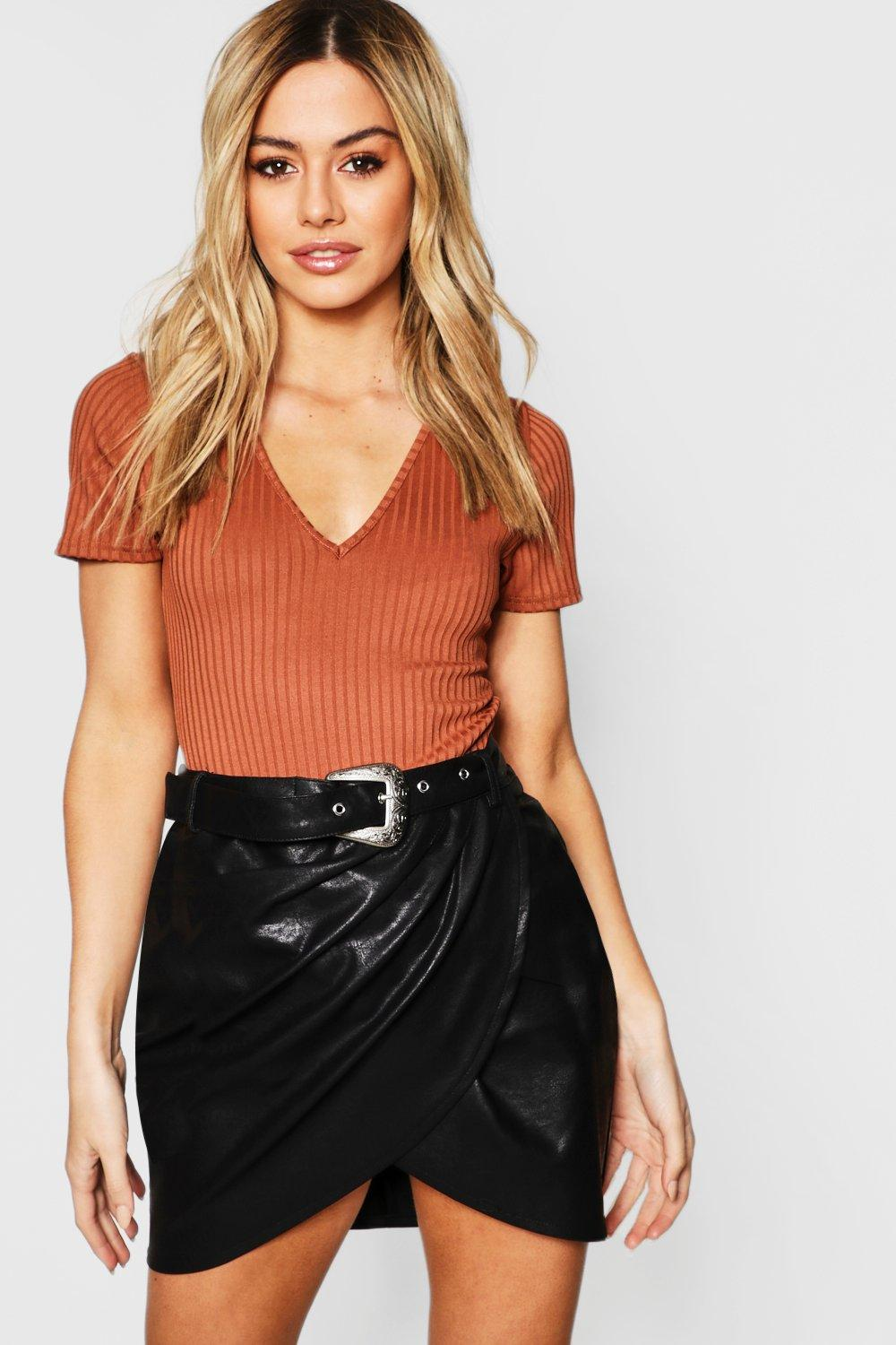 Petite Faux Leather Tulip Skirt With Western Belt