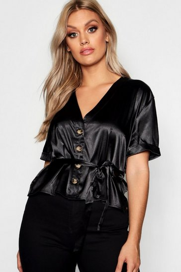 Womens Black Plus Satin Button Tie Waist Blouse