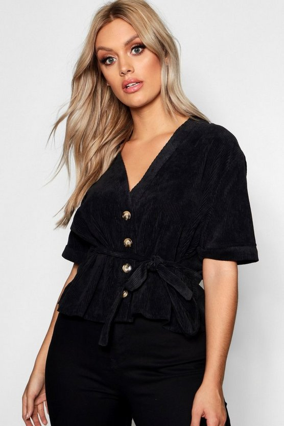 Plus Button Down Belted Cord Shirt, Black, Женские