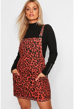 Womens Rust Plus Leopard Print Dungaree Dress