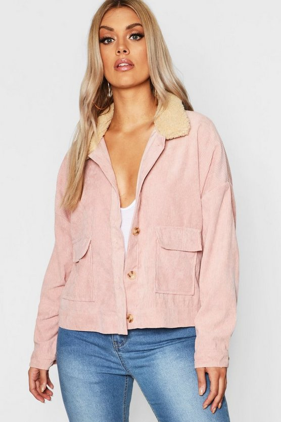 Womens Blush Plus Shearling Cord Trucker Jacket