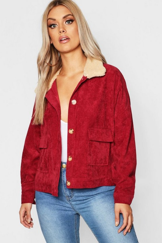Plus Shearling Cord Trucker Jacket