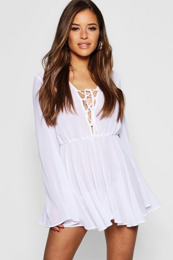 Womens White Petite Chiffon Lace Up Beach Dress