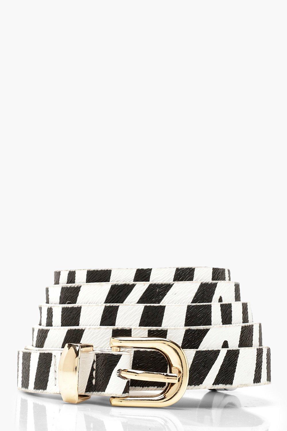 Plus Faux Zebra Print PU Skinny Belt