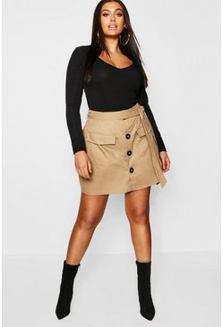 Plus Tie Horn Button Military Skirt, Stone