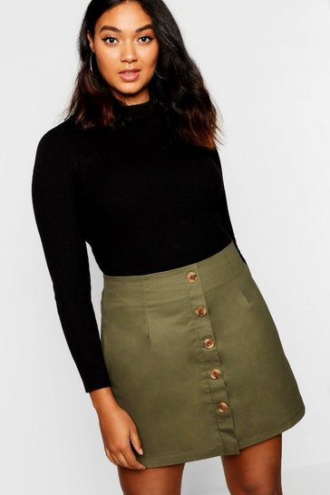 Khaki Plus Horn Button Utility Skirt