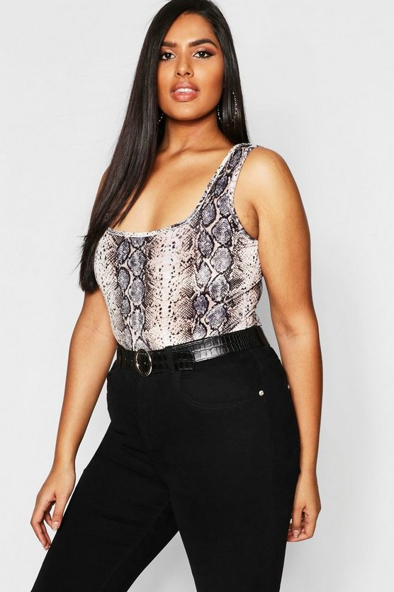 Plus Square Neck Velvet Snake Bodysuit
