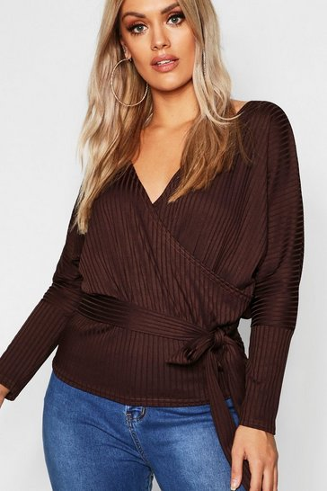 Womens Chocolate Plus Rib Wrap Tie Top