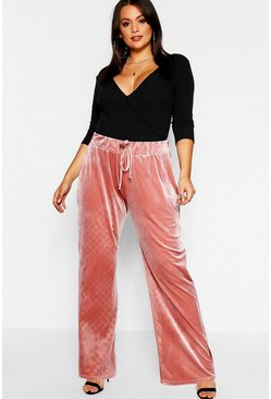 Womens Pink Plus Velvet Wide Leg Trousers