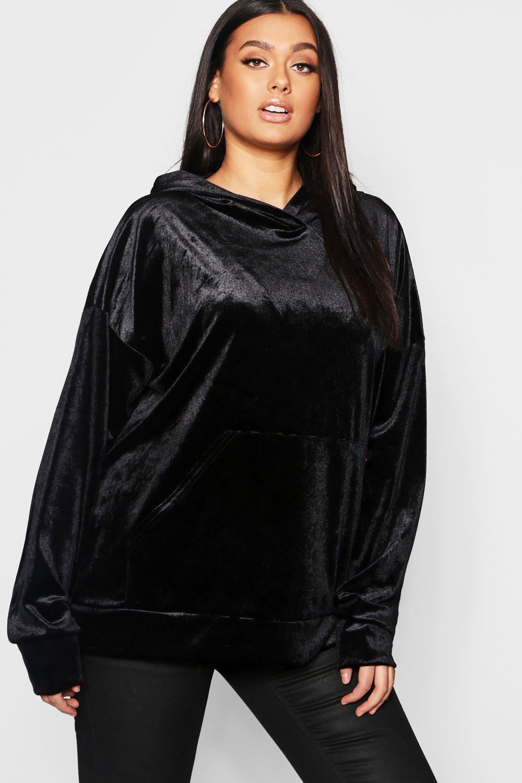 Plus Velvet Pocket Oversized Hoody