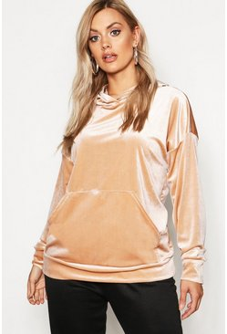 Womens Stone Plus Velvet Pocket Oversized Hoody