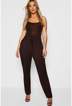 Womens Chocolate Plus Casual Tie Detail Trouser