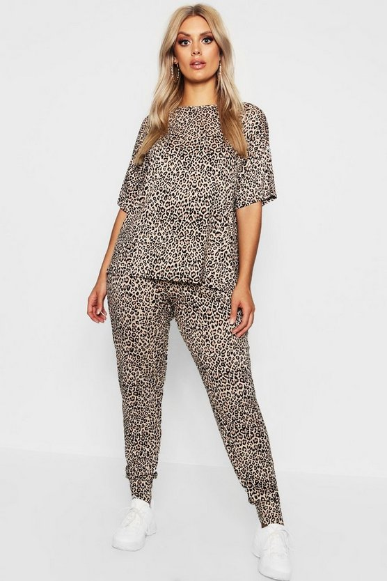 Womens Brown Plus Leopard Loungewear Set