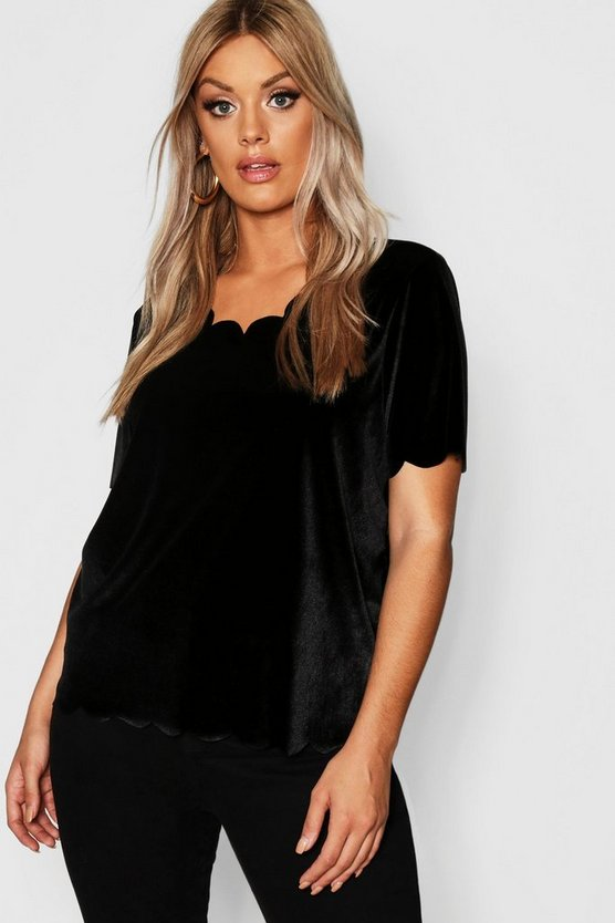 Womens Black Plus Velvet Scallop Hem Top