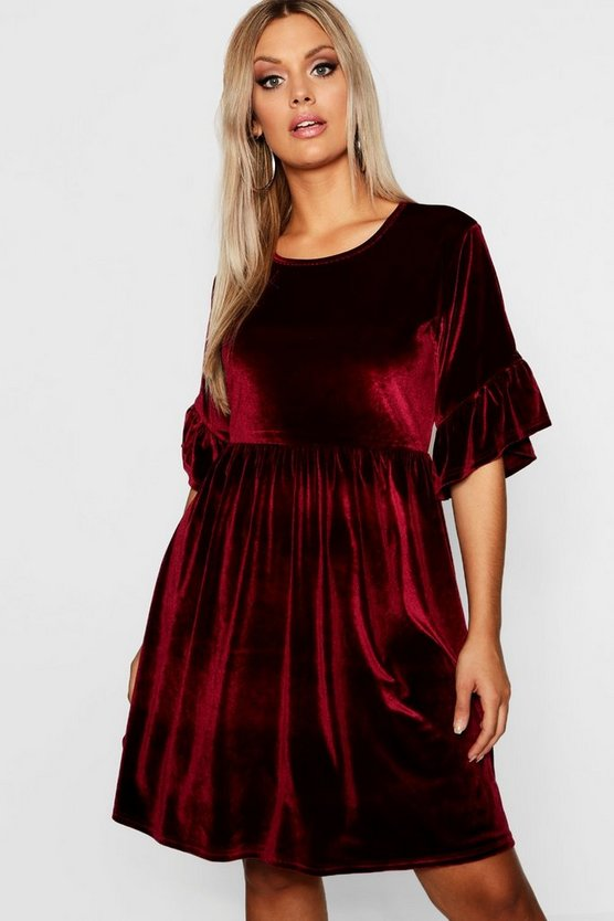 Womens Berry Plus Velvet Ruffle Sleeve Smock Dress