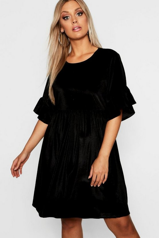Plus Velvet Ruffle Sleeve Smock Dress